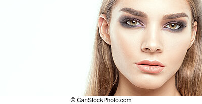 Beauty portrait of caucasian girl.