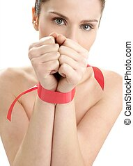 Beauty portrait of funny tied hands woman - Beauty cosmetic...
