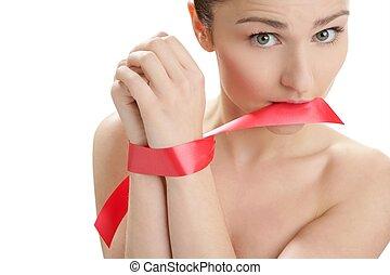 Beauty portrait of funny tied hands woman