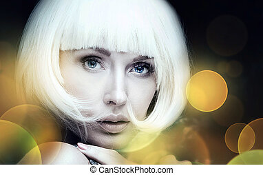 Beauty portrait of girl with short hair.