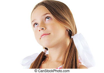Beauty portrait of little girl with bows