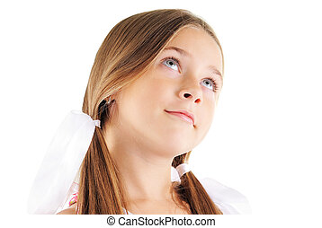 Beauty portrait of little girl with white bows