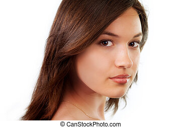 Beauty portrait of natural pure young woman