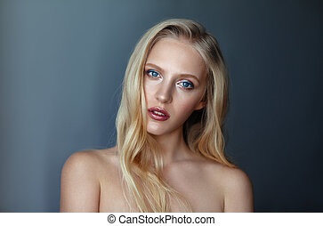 Beauty portrait of nordic natural blonde woman