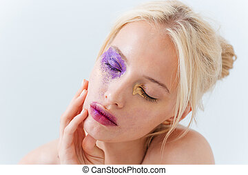 Beauty portrait of sensual girl with fashion makeup