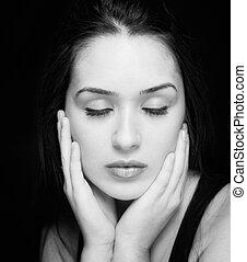 Beauty portrait of sensual pure woman