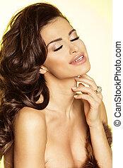 Beauty portrait of sexy brunette woman