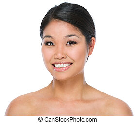 Beauty portrait of smiling asian brunette woman isolated on...