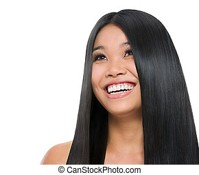Beauty portrait of smiling asian girl healthy long straight...