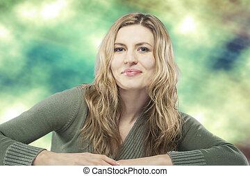 beauty portrait of young blond caucasian woman