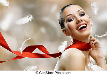 beauty portrait - beauty girl on the blur background