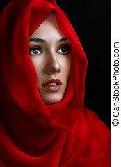 beauty portrait - a beauty girl on the black background