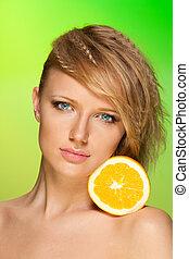 Beauty portrait with fruit