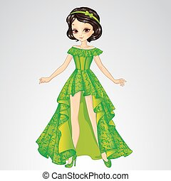 Vector illustration of beautiful brunette princess in green long dress from fairytale