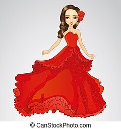 Beauty Princess In Red Dress - Vector illustration of...