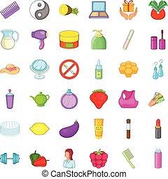 Beauty product icons set, cartoon style