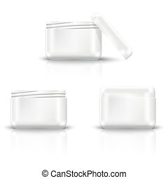Packaging containers vector templates set.