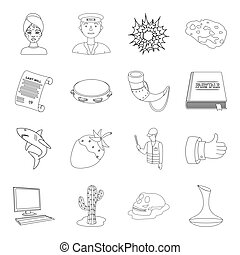 beauty, profession, history and other web icon in outline style. music, religion, technology icons in set collection.