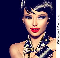 Beauty punk fashion model girl. Rocker style brunette