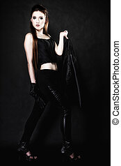Subculture - full length beauty punk girl with leather jacket black background