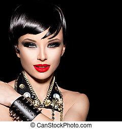 beauty, punker, mannequin, girl., kipstang, stijl, brunette