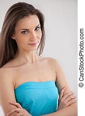 beauty., räcka beväpnar, korsat, tillitsfull, isolerat, attraktiv, medan, se, henne, kamera, kvinna, vit, stående, ung
