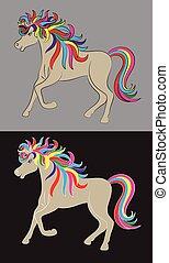 Beauty rainbow horse outline