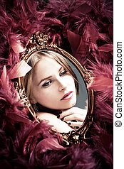 beauty reflection - beautiful young woman reflection in ...