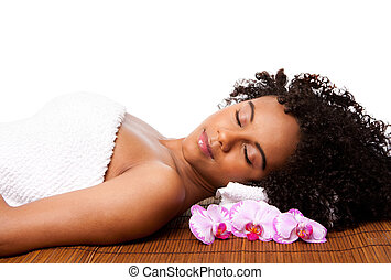 Beauty relaxation at spa - Beautiful happy peaceful sleeping...