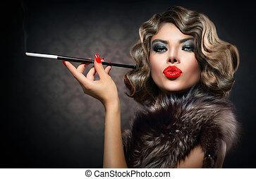 beauty, retro, vrouw, met, mouthpiece., ouderwetse , gestyleerd, beauty