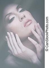 beauty., retro, vrouwlijk, verticaal, met, langzaam verdwenen, kleuren