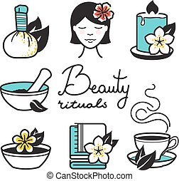 Beauty rituals icons - Spa and wellness icons. Beauty...