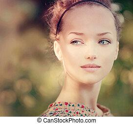 Beauty Romantic Girl Outdoor. Beautiful Teenage Model