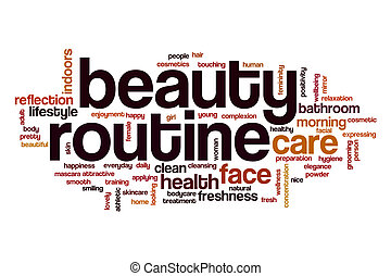 Beauty routine word cloud concept