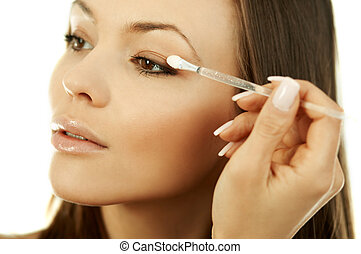 Beauty routines - Portrait of Beautiful and sexy woman doing...