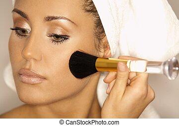 Beauty routines V - Portrait of Beautiful brunette woman...