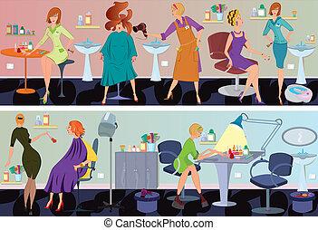 Beauty salon banner hair blow drying - Beauty salon workers ...