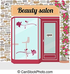 beauty salon - Beauty salon building facade. Vector...