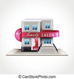 Beauty salon building isolated vector illustration - Beauty...