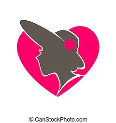 Beauty salon emblem with woman in hat inside heart