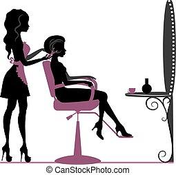 Beauty salon - Girl in beauty salon making hairstyle