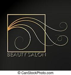 Beauty salon golden symbol of scissors and hair