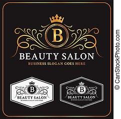 Beauty Salon Heraldic Crest Logo Template