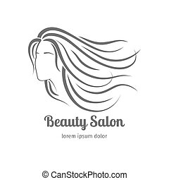 Beauty salon icon with girl face silhouette