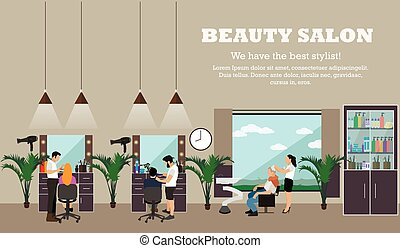 Beauty salon interior vector concept banners. Hair style...