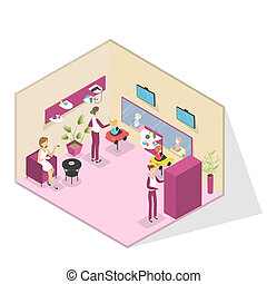 Beauty salon interior with children getting a haircut