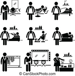A set of pictograms showing the professions of people in the beauty and fashion industry.