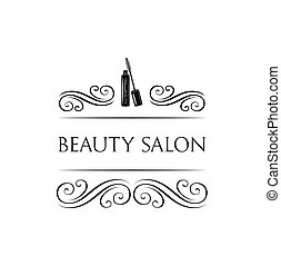 Beauty Salon Label. Mascara for Eyelashes. Eye Makeup. Badge. Filigree Swirls and Curls Decorations Vector Illustration.