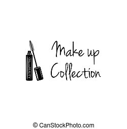 Beauty Salon Label. Mascara for Eyelashes. Eye Makeup. Badge. Make Up Collection. Vector Illustration.
