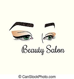 Beauty salon logotype. Illustration with womens eyes and brows